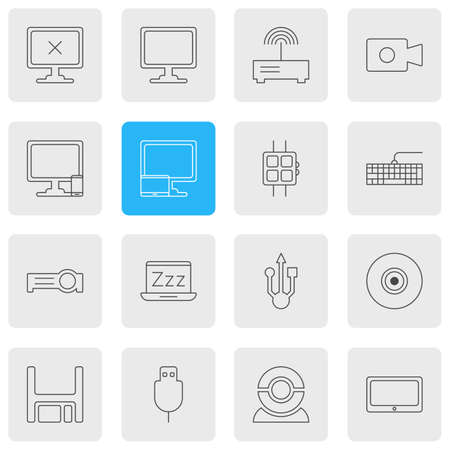 illustration of 16 computer icons line style. Editable set of phone with PC, smartwatch, universal serial bus and other icon elements. Stok Fotoğraf