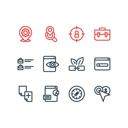 illustration of 12 advertisement icons line style. Editable set of target audience, domain registration, web visibility and other icon elements.