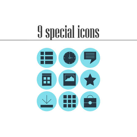 illustration of 9 internet icons. Editable set of download, image, time and other icon elements.