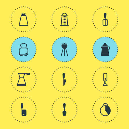 illustration of 12 kitchenware icons. Editable set of bbq, knife, spoon and other icon elements. 版權商用圖片