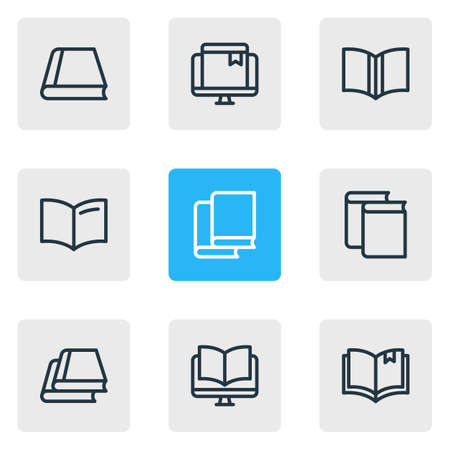 illustration of 9 book icons line style. Editable set of online bookmark, ebook, information and other icon elements. Stock Photo