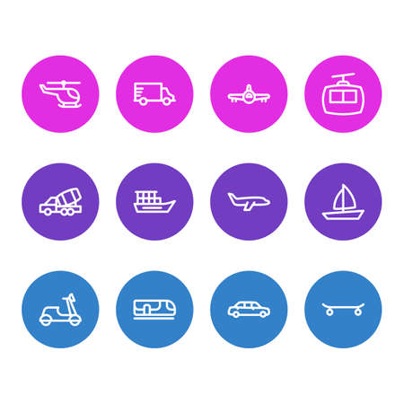 Vector illustration of 12 vehicle icons line style. Editable set of large car, helicopter, construction car and other icon elements.