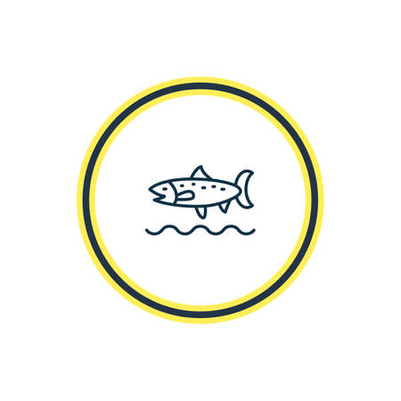 Vector illustration of trout fish icon line. Beautiful naval element also can be used as codfish icon element. Stock Illustratie
