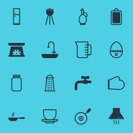 Vector illustration of 16 kitchenware icons. Editable set of mug, cutting board, pan and other icon elements.