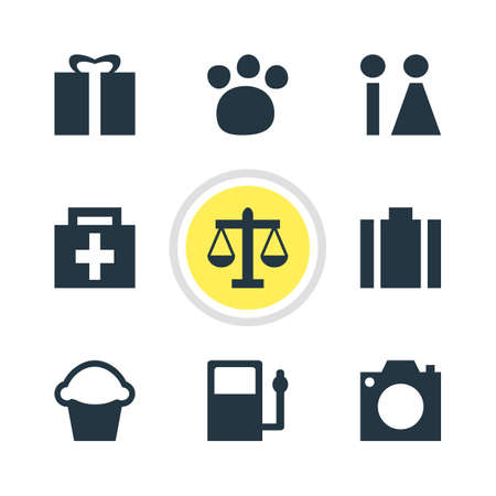 Vector illustration of 9 travel icons. Editable set of portfolio, restroom, zoo and other icon elements. Zdjęcie Seryjne - 126798821