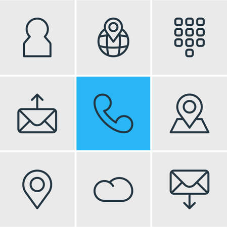 illustration of 9 community icons line style. Editable set of buttons, pinpoint, cloud and other icon elements. Stock Photo