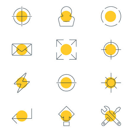 Vector illustration of 12 interface icons line style. Editable set of minus, full screen, reload and other icon elements.