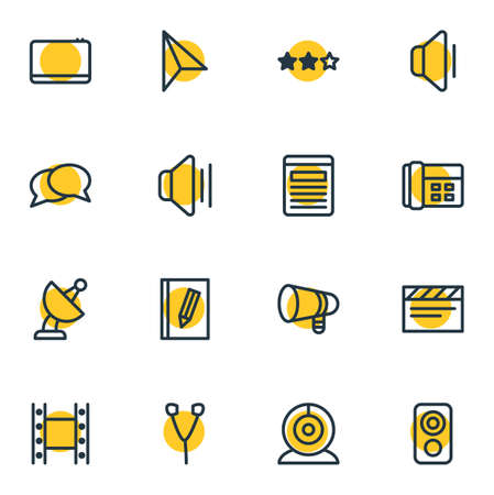 Vector illustration of 16 media icons line style. Editable set of webcam, earphone, conversation and other icon elements. Illustration