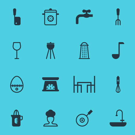 Vector illustration of 16 cooking icons. Editable set of dining tool, egg split, sink and other icon elements. Illustration