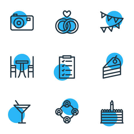 illustration of 9 events icons line style. Editable set of list, people, dessert and other icon elements.
