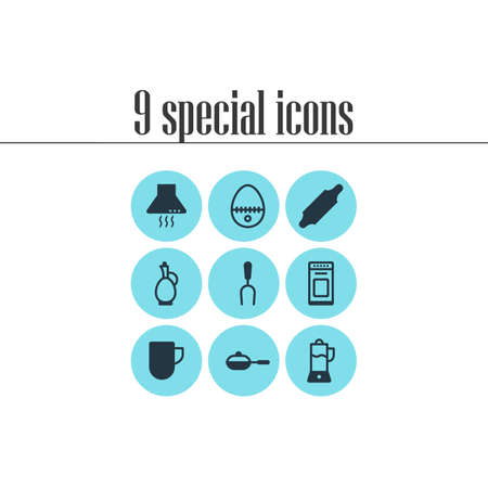 Vector illustration of 9 restaurant icons. Editable set of skillet, coffee mug, bbq fork and other icon elements. Stock Illustratie