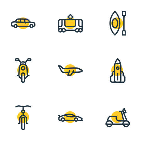 illustration of 9 vehicle icons line style. Editable set of motorcycle, shuttle, sport car and other icon elements.