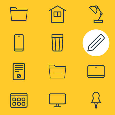illustration of 12 workplace icons line style. Editable set of minus, pushpin, ban and other icon elements.