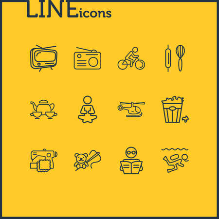 Vector illustration of 12 hobby icons line style. Editable set of tv, popcorn, biking and other icon elements. Illusztráció
