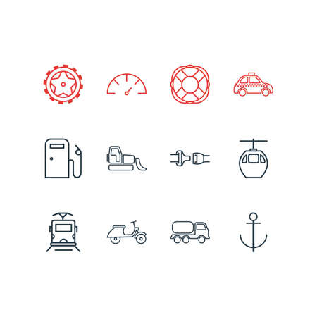 Vector illustration of 12 transportation icons line style. Editable set of bulldozer, cable car, speedometer and other icon elements.