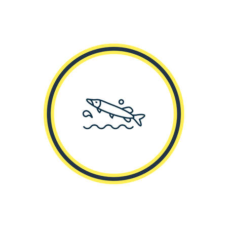 Vector illustration of pike fish icon line. Beautiful sea element also can be used as minnow icon element. Vettoriali