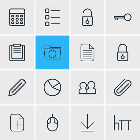 Vektor-Illustration von 16 Bürosymbolen Linienstil. Bearbeitbarer Satz von Reload, Download, Tortendiagramm und anderen Symbolelementen.