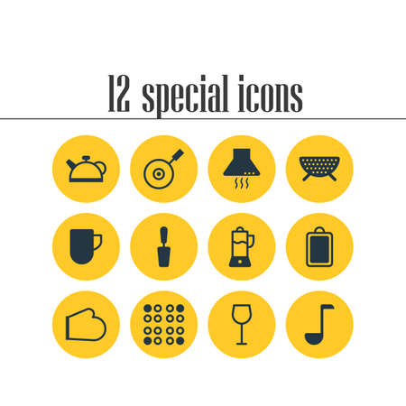 Vector illustration of 12 cooking icons. Editable set of kitchen hood, cutting board, wineglass and other icon elements.
