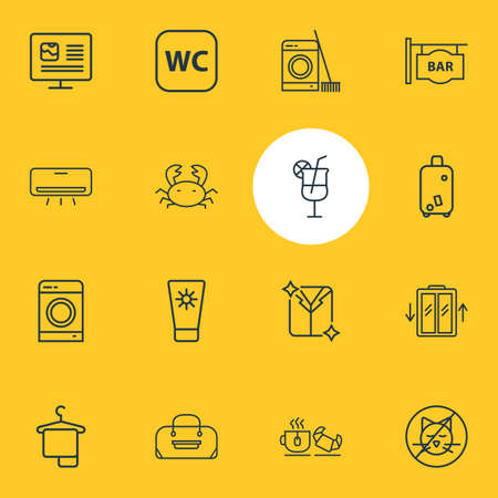 Vector illustration of 16 tourism icons line style. Editable set of no animals, cocktail, tea with croissant and other icon elements.