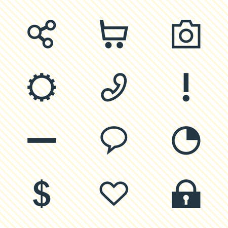 illustration of 12 interface icons. Editable set of trading cart, earning, timer and other icon elements.