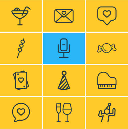 Vector illustration of 12 event icons line style. Editable set of tag with heart, wineglass, speech bubble and other icon elements. Ilustração
