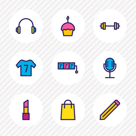 Vector illustration of 9 lifestyle icons colored line. Editable set of casino, shopping, microphone and other icon elements.
