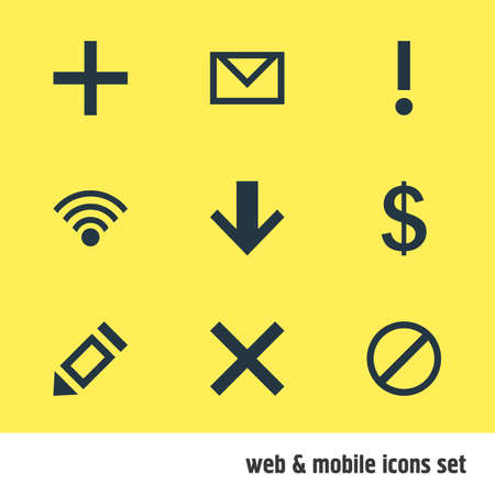 Vector illustration of 9 member icons. Editable set of down, add, earning and other icon elements.