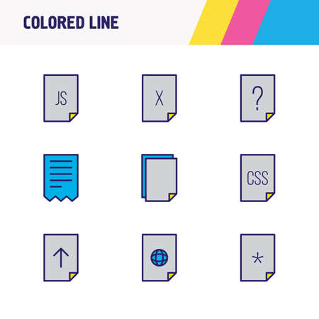 illustration of 9 document icons colored line. Editable set of upload, web, important file and other icon elements.