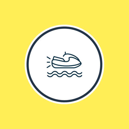 illustration of jet ski icon line. Beautiful nautical element also can be used as scooter icon element.