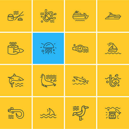 illustration of 16 nautical icons line style. Editable set of seagull, jelly fish, wealth and other icon elements.