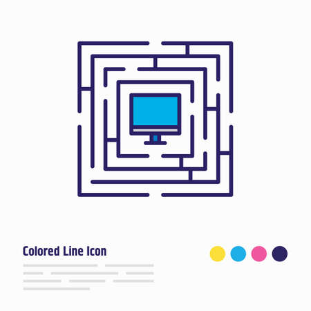 illustration of protected computer icon colored line. Beautiful security element also can be used as desktop icon element.