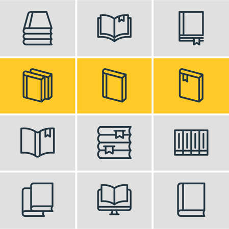 illustration of 12 education icons line style. Editable set of ebook, bookstore, tutorial and other icon elements.
