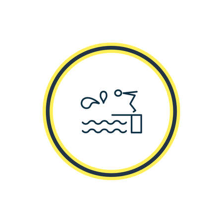 Vector illustration of diving board icon line. Beautiful nautical element also can be used as swimming pool icon element.