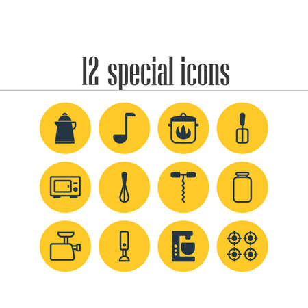 Vector illustration of 12 cooking icons. Editable set of hot pan, kettle, blender and other icon elements. Illustration