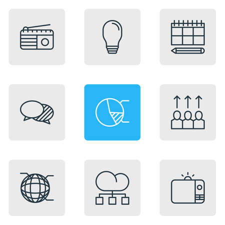 Vector illustration of 9 advertising icons line style. Editable set of globe, structure, promotion and other icon elements.