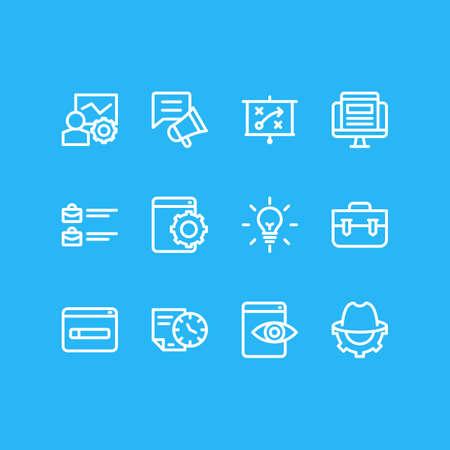 illustration of 12 advertisement icons line style. Editable set of portfolio, jobs open, SEO whitehat and other icon elements. 免版税图像