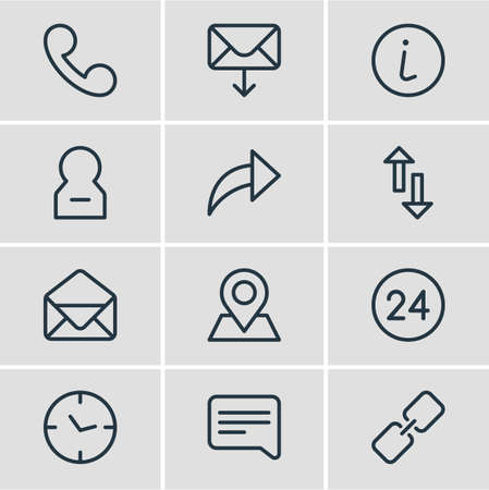 Vector illustration of 12 connect icons line style. Editable set of envelope, receive mail, arrow and other icon elements. Vettoriali