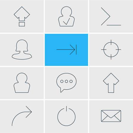 Vector illustration of 12 UI icons line style. Editable set of command line, arrow, publish icon elements. 일러스트