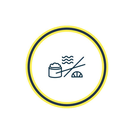 Vector illustration of sushi icon line. Beautiful nautical element also can be used as japanese roll icon element.