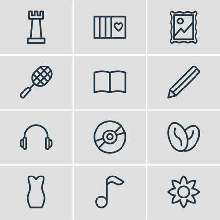 illustration of 12 hobby icons line style. Editable set of book, graphite, music note and other icon elements. Stock Photo