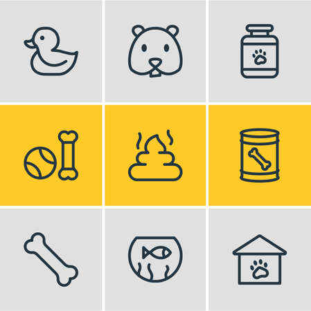 illustration of 9 animal icons line style. Editable set of bone, hamster, duck and other icon elements.