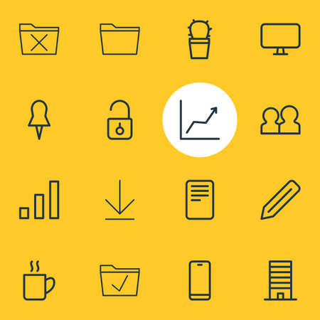 illustration of 16 workplace icons line style. Editable set of download, file, uninstall and other icon elements.