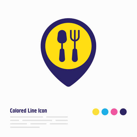 illustration of restaurant icon colored line. Beautiful meal element also can be used as cafe icon element. 写真素材