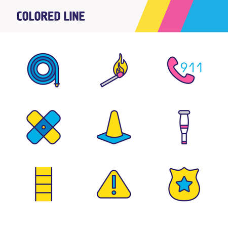 Vector illustration of 9 necessity icons colored line. Editable set of attention, police sign, ladder and other icon elements.