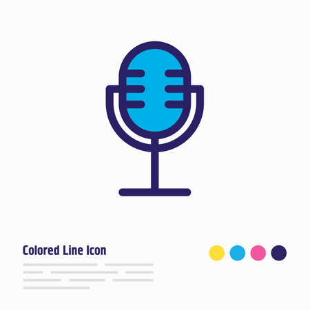 Vector illustration of microphone icon colored line. Beautiful lifestyle element also can be used as mic icon element. Illustration
