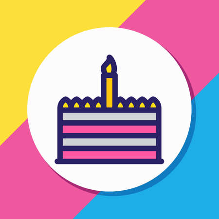 Vector illustration of cake icon colored line. Beautiful holiday element also can be used as birthday dessert icon element.