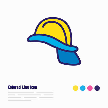 Vector illustration of helmet icon colored line. Beautiful extra element also can be used as hardhat icon element. 矢量图像
