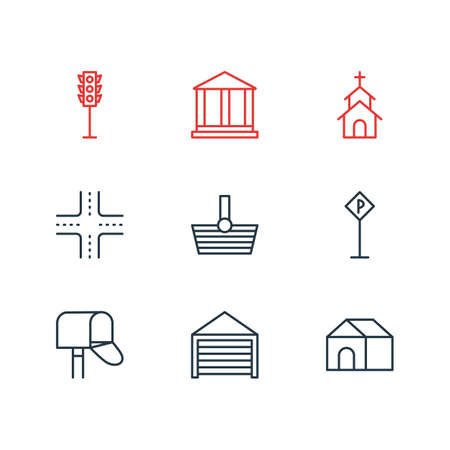 Vector illustration of 9 urban icons line style. Editable set of shopping, parking, postbox and other icon elements.