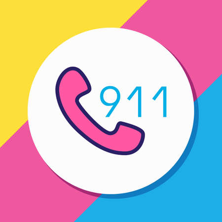 Vector illustration of 911 icon colored line. Beautiful necessity element also can be used as call icon element.