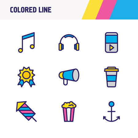 Vector illustration of 9 joy icons colored line. Editable set of anchor, coffee to go, player and other icon elements. Stock Photo